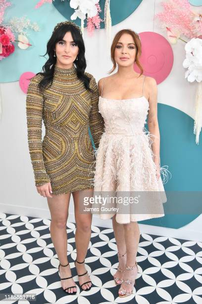 Lindsay Lohan and Aliana Lohan attend the Network 10 marquee on Melbourne Cup Day at Flemington Racecourse on November 05 2019 in Melbourne Australia