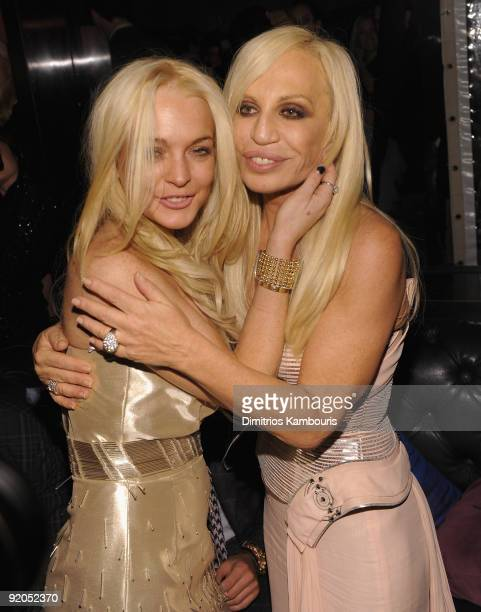 Lindsay Lohan and designer Donatella Versace attend 2009 Whitney Museum Gala Studio Party at The Whitney Museum of American Art on October 19, 2009...