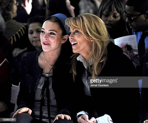 Lindsay Lohan and Dina Lohan during Olympus Fashion Week Fall 2006 Child Magazine Backstage and Front Row at Atelier in New York City New York United...