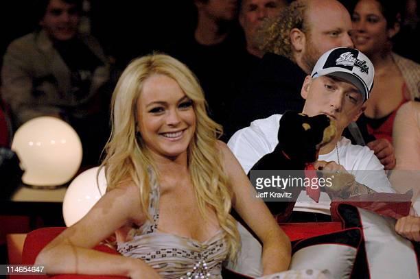 Lindsay Lohan and Eminem during 2005 MTV Movie Awards Show at Shrine Auditorium in Los Angeles California United States