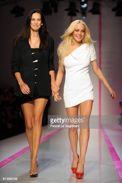 Lindsay Lohan and Estrella Archs walk the runway during the Emmanuel Ungaro Pret a Porter show as part of the Paris Womenswear Fashion Week...
