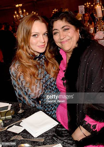 Lindsay Lohan and Gurinder Chadha attend the 6th Annual Asian Awards at The Grosvenor House Hotel on April 8 2016 in London England