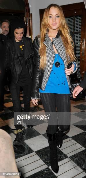 Lindsay Lohan and her girlfriend Samantha Ronson leaving Nobu Berkley restaurant via the back door on November 18, 2008 in London, England.