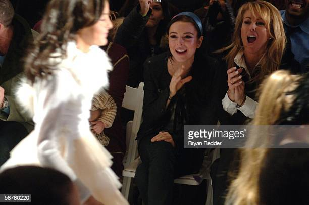 Lindsay Lohan and her mother Dina Lohan attend the Child Magazine Fall 2006 fashion show at Bryant Park during Olympus Fashion Week on February 6...