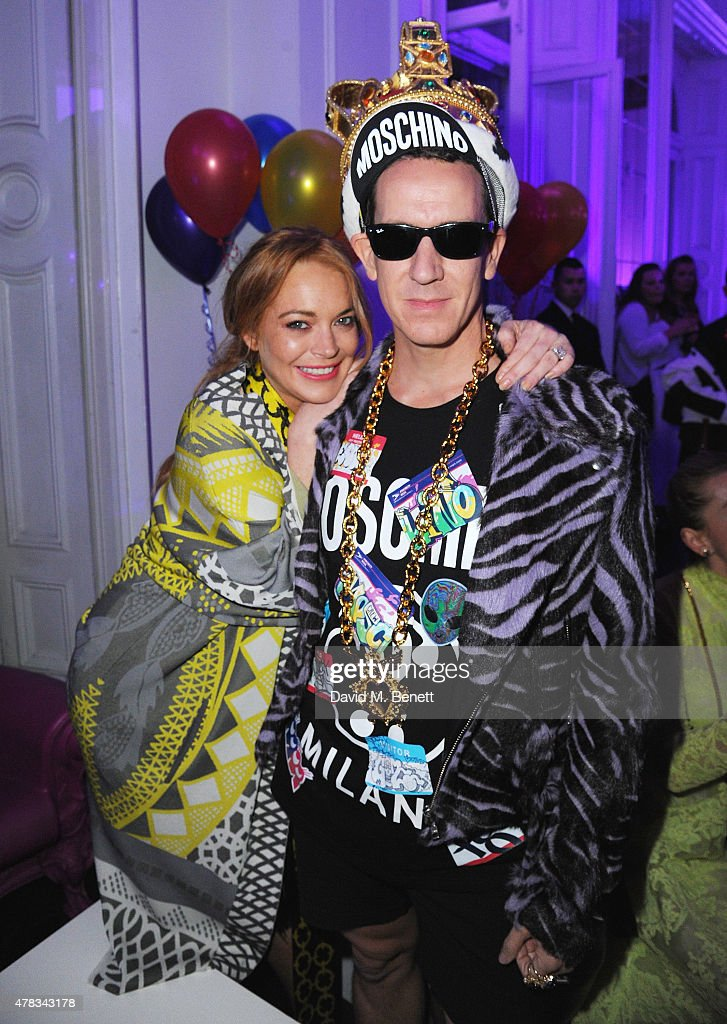 Lindsay Lohan and Jeremy Scott at the i-D 35 x Jeremy Scott for Moschino party celebrating i-D Magazine's 35th anniversary at Il Bottaccio on June 24, 2015 in London, England.