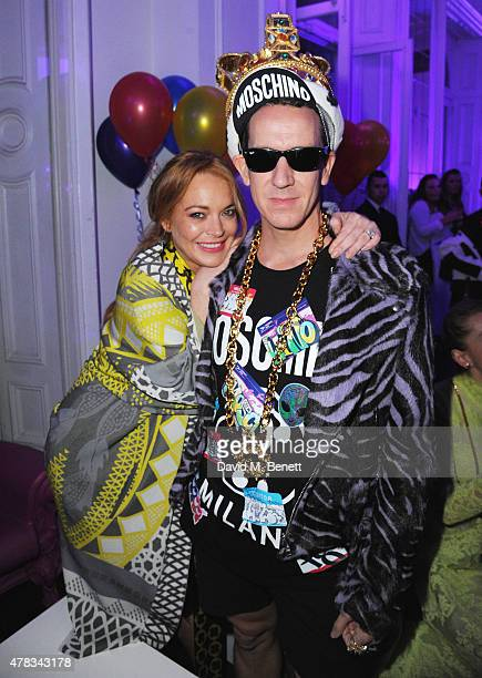 Lindsay Lohan and Jeremy Scott at the iD 35 x Jeremy Scott for Moschino party celebrating iD Magazine's 35th anniversary at Il Bottaccio on June 24...