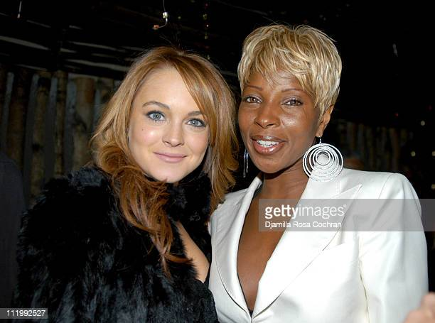 Lindsay Lohan and Mary J Blige during Mary J Blige's Birthday Party at Butter in New York City New York United States