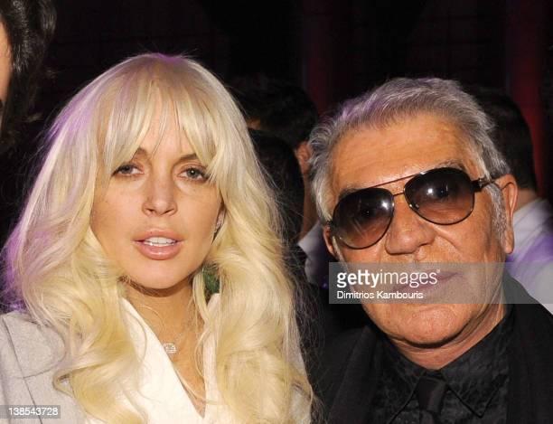 Lindsay Lohan and Roberto Cavalli attend the amfAR New York Gala To Kick Off Fall 2012 Fashion Week Presented By Hublot at Cipriani Wall Street on...