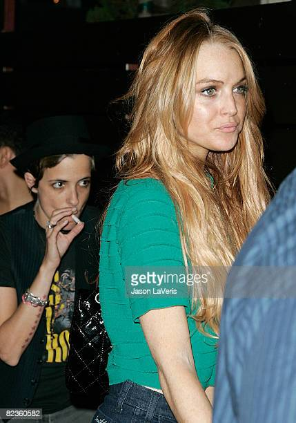 Lindsay Lohan and Samantha Ronson attend the grand opening of Apple Lounge on August 14, 2008 in West Hollywood, California.