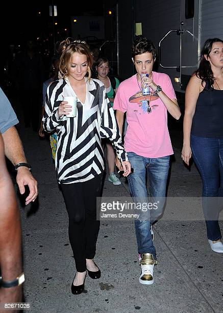 Lindsay Lohan and Samantha Ronson seen walking to the Ugly Betty set on September 4 2008 in New York City