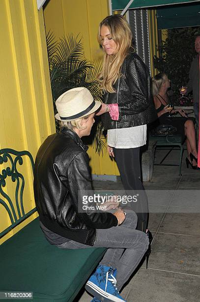 Lindsay Lohan and Samantha Ronson visit Dan Tana's on June 24 2008 in West Hollywood California