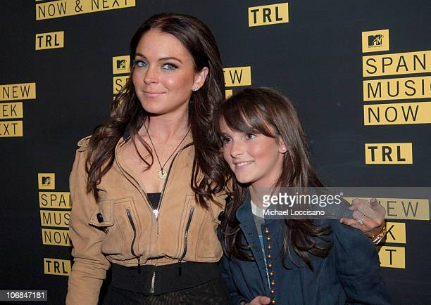 Lindsay Lohan and sister Ali Lohan during Lindsay Lohan Daniel Radcliffe Benji Madden Joel Madden and Avenged Sevenfold Visit MTV's 'TRL' November 11...