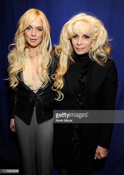 Lindsay Lohan and Victoria Gotti attend the Gotti press conference at Sheraton New York Hotel Towers Central Park West Room on April 12 2011 in New...
