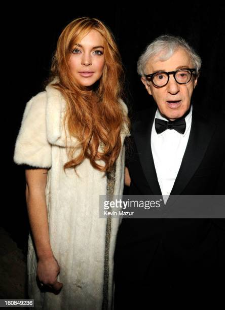 Lindsay Lohan and Woody Allen attend the amfAR New York Gala To Kick Off Fall 2013 Fashion Week at Cipriani Wall Street on February 6, 2013 in New...