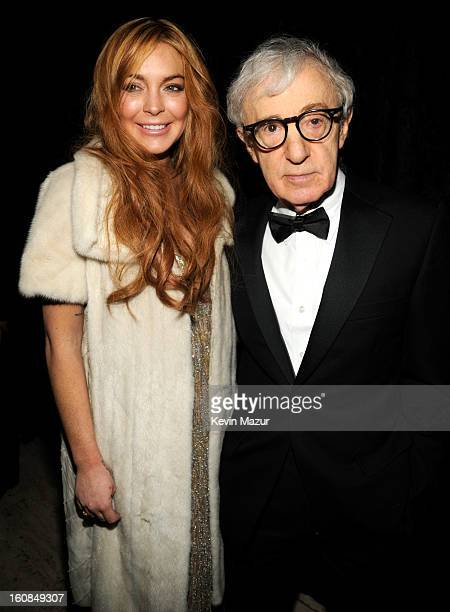 Lindsay Lohan and Woody Allen attend the amfAR New York Gala To Kick Off Fall 2013 Fashion Week at Cipriani Wall Street on February 6 2013 in New...