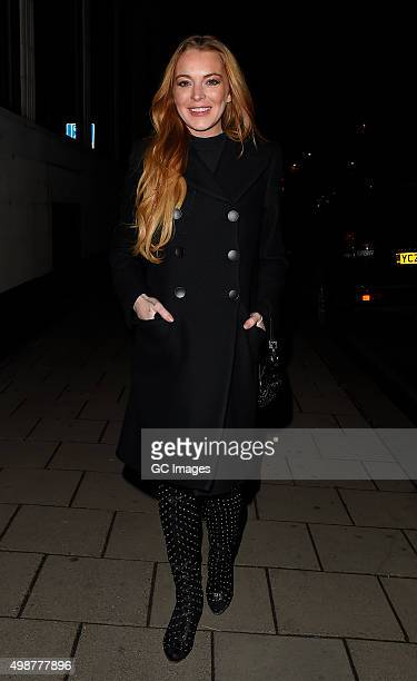 Lindsay Lohan arrives at China Tang restaurant in Mayfair on November 25 2015 in London England
