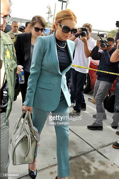 Lindsay Lohan arrives for her latest probation hearing on March 29 2012 in Los Angeles California Lohan could be placed on informal probation for the...