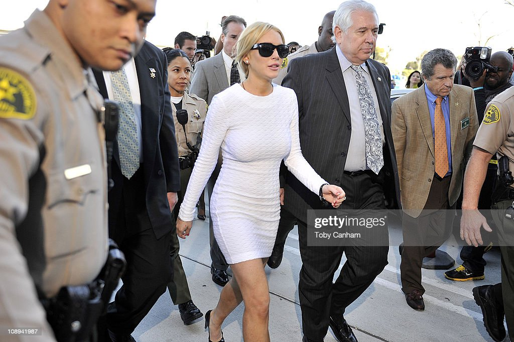 Lindsay Lohan arrrives for her arraingment at the Airport Courthouse on February 9, 2011 in Los Angeles, California. Lohan was charged with a felony count of grand theft for allegedly stealing a $2,500 necklace from a jewelry store in Venice.