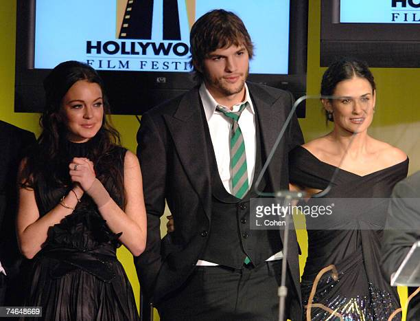 Lindsay Lohan Ashton Kutcher and Demi Moore at the The Beverly Hilton Hotel in Beverly Hills California