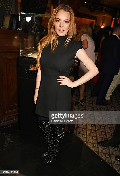 Lindsay Lohan attends an after party following the screening of La Legende de La Palme d'Or at China Tang on November 25 2015 in London England
