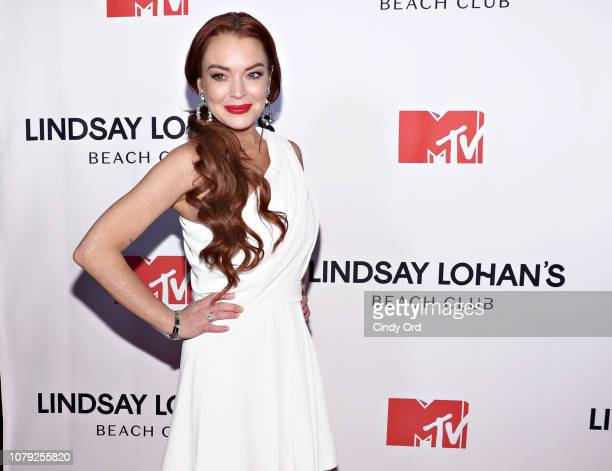 Lindsay Lohan attends MTV's 'Lindsay Lohan's Beach Club' Premiere Party at Moxy Times Square on January 7 2019 in New York City