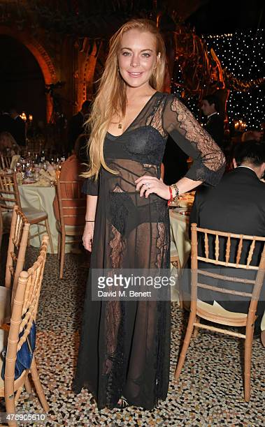 Lindsay Lohan attends the 2015 FIA Formula E Visa London ePrix Gala Dinner at the Natural History Museum on June 28 2015 in London England