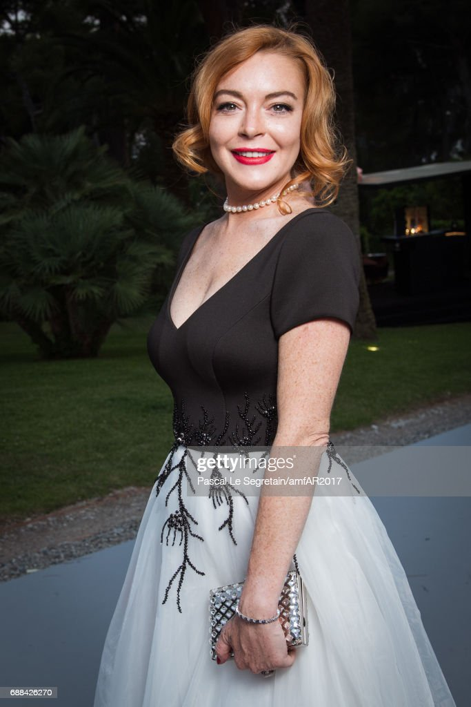 Lindsay Lohan attends the amfAR Gala Cannes 2017 at Hotel du Cap-Eden-Roc on May 25, 2017 in Cap d'Antibes, France.