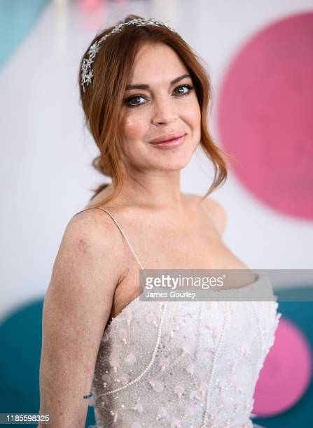 Lindsay Lohan attends the Channel 10 Marquee on Melbourne Cup Day at Flemington Racecourse on November 05 2019 in Melbourne Australia