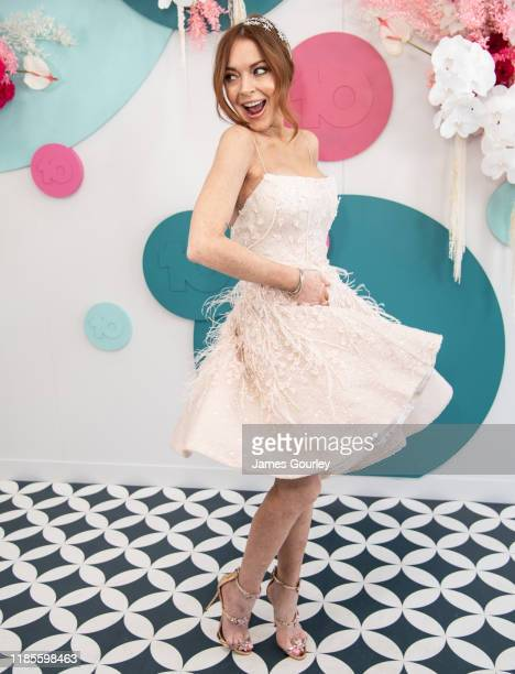 Lindsay Lohan attends the Channel 10 Marquee on Melbourne Cup Day at Flemington Racecourse on November 05, 2019 in Melbourne, Australia.