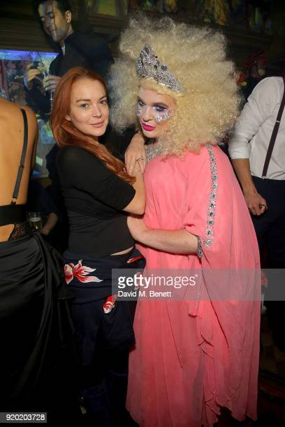 Lindsay Lohan attends the finale of The Box's 7th Birthday with lovebullets in partnership with Belvedere Vodka at The Box on February 18 2018 in...