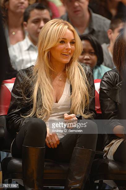 Lindsay Lohan attends the NBA game between the Orlando Magic and the Los Angeles Lakers at Staples Center on December 2 2007 in Los Angeles...
