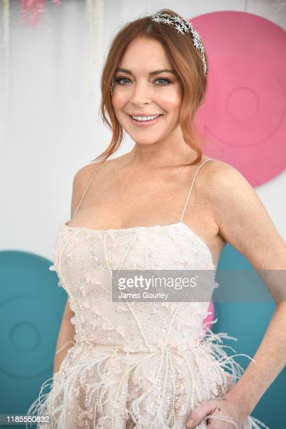 Lindsay Lohan attends the Network 10 marquee on Melbourne Cup Day at Flemington Racecourse on November 05, 2019 in Melbourne, Australia.