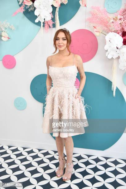 Lindsay Lohan attends the Network 10 marquee on Melbourne Cup Day at Flemington Racecourse on November 05 2019 in Melbourne Australia