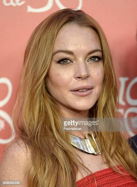 Lindsay Lohan attends 'Uno de 50' 20th anniversary party at Palacio de Saldana on June 9 2016 in Madrid Spain