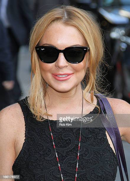 """Lindsay Lohan departs the Ed Sullivan Theater after visiting """"Late Show With David Letterman"""" on April 9, 2013 in New York City."""