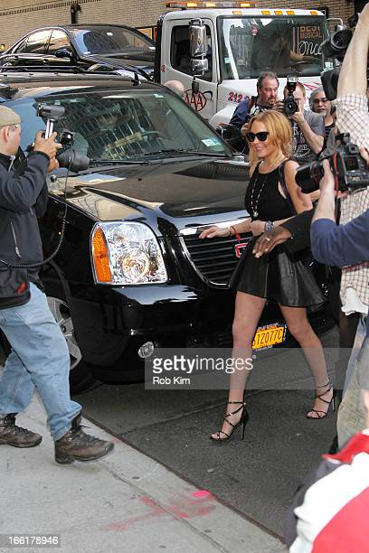 Lindsay Lohan departs the Ed Sullivan Theater after visiting Late Show With David Letterman on April 9 2013 in New York City