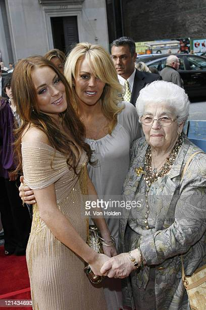 Lindsay Lohan Dina Lohan and Grandma Lohan during A Prairie Home Companion New York Premiere Arrivals at DGA Theatre in New York City New York United...