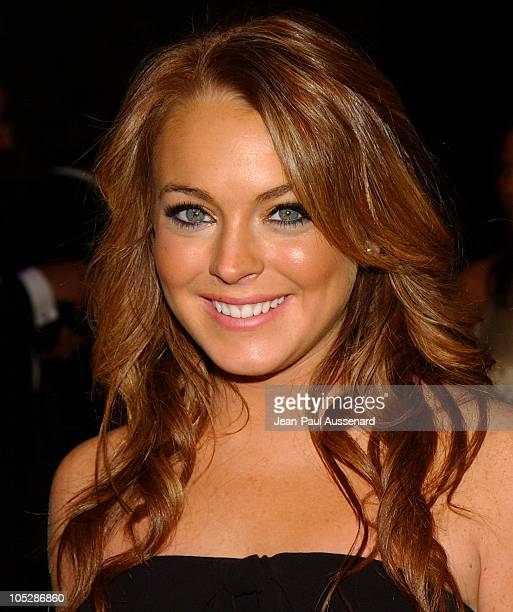 Lindsay Lohan during 2004 Vanity Fair Oscar Party Arrivals at Mortons in Beverly Hills California United States