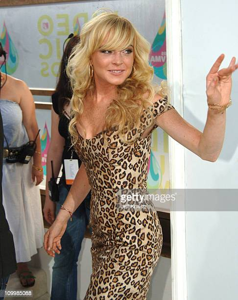 Lindsay Lohan during 2005 MTV Video Music Awards White Carpet at American Airlines Arena in Miami Florida United States