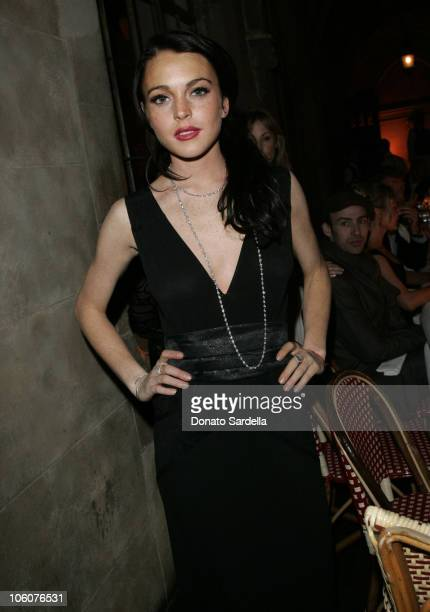 Lindsay Lohan during Dior Beauty Host a Dinner for Makeup artist Pati Dubroff at Chateau Marmont in West Hollywood California United States