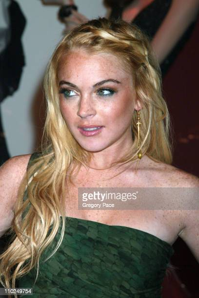 Lindsay Lohan during ELLE Magazine's 21st Birthday VIP Bash Benefiting EIF's National Colorectal Cancer Research Outside Arrivals at Bloomingdale's...
