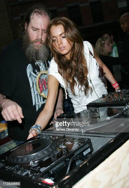 Lindsay Lohan during Gap Kicks Off Summer In The City With An AllStar Celebrity DJ Spin Off At Their Rock Color Bus at Gap Rock Color Bus in New York...
