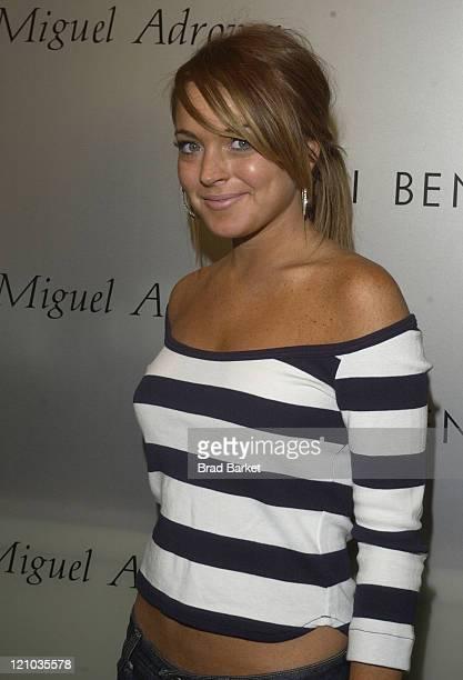 Lindsay Lohan during Henri Bendel Toasts Miguel Adrover at Henri Bendel in New York New York United States
