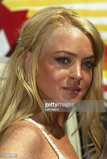 Lindsay Lohan during 'Herbie Fully Loaded' Los Angeles Premiere Red Carpet at El Capitan Theatre in Hollywood California United States