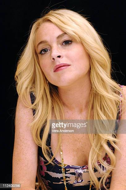 """Lindsay Lohan during """"Herbie Fully Loaded"""" Press Conference with Lindsay Lohan, Michael Keaton and Matt Dillon at Century Plaza in Los Angeles,..."""