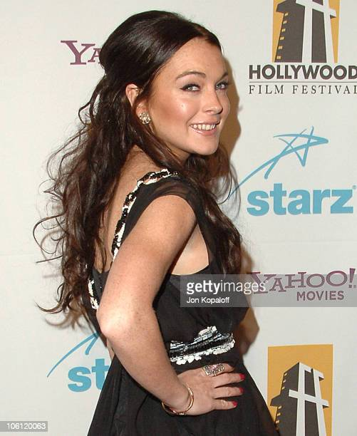 Lindsay Lohan during Hollywood Film Festival 10th Annual Hollywood Awards Arrivals at Beverly Hilton Hotel in Beverly Hills California United States