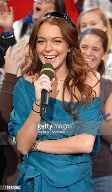 "Lindsay Lohan during Lindsay Lohan and AFI Visit MTV's ""TRL"" - May 8, 2006 at MTV ""TRL"" Studio in New York City, New York, United States."