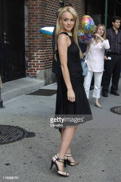 Lindsay Lohan during Lindsay Lohan Departs The Late Show with David Letterman June 21 2005 at Ed Sullivan Theater in New York City New York United...