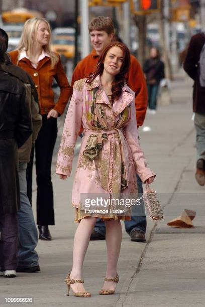 Lindsay Lohan during Lindsay Lohan on the Set of Just My Luck March 31 2005 at Greenwich Village in New York City New York United States
