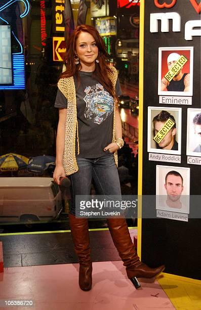 "Lindsay Lohan during Lindsay Lohan, Xzibit, and Jeremy Shockey Visit MTV's ""TRL"" - December 7, 2004 at MTV Studios in New York City, NY, United..."
